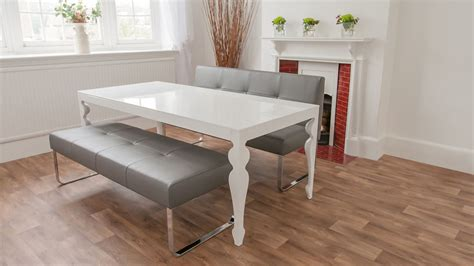 gray dining table with bench upholstered grey leather dining bench with backrest