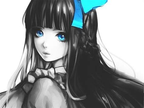 anime girl with black hair and blue eyes women blue eyes long hair black hair nya pinterest