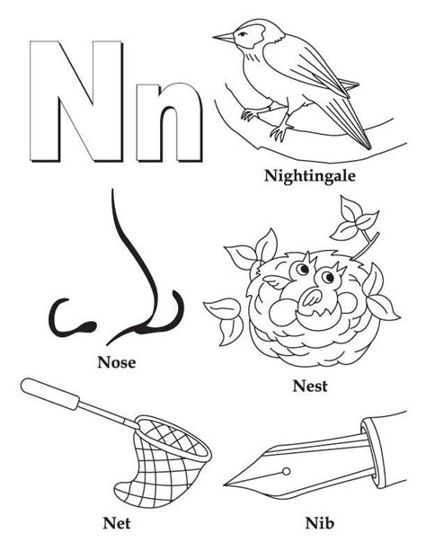 n words coloring page my a to z coloring book letter n coloring page coloring