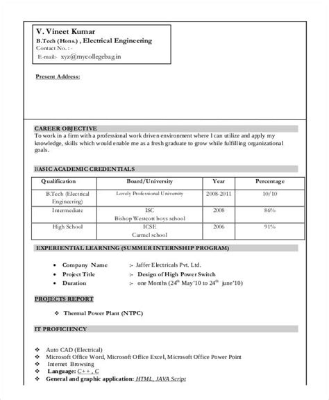 resume format doc for fresher electrical engineer 9 fresher engineer resume templates pdf doc free