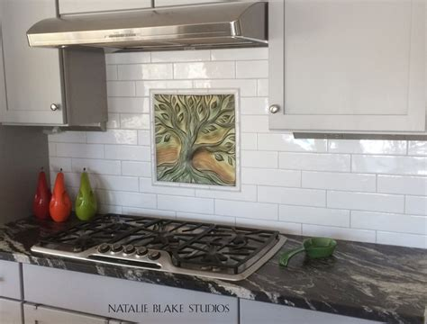 Handmade Tiles Kitchen - quot tree of quot porcelain tile creates a focal point for
