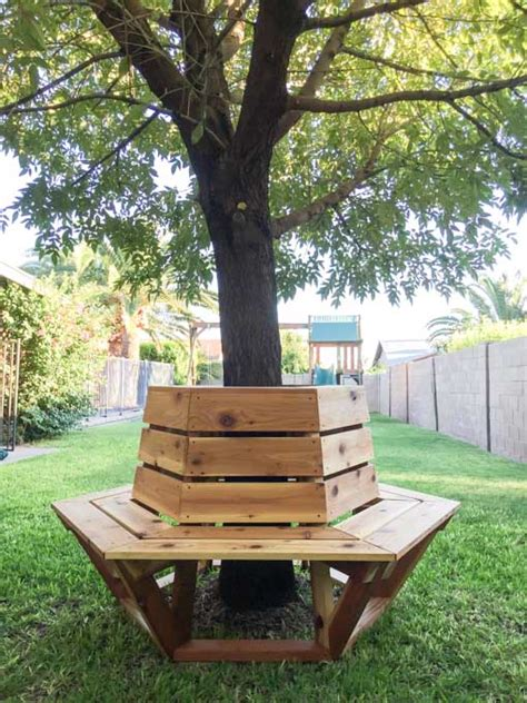 how to make a bench around a tree how to build a hexagon cedar bench addicted 2 diy