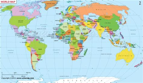 countries map world map with countries and cities poppy