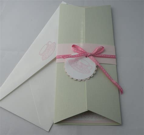 Handmade Tea Invitations - 10 custom tea invitations in pink and green