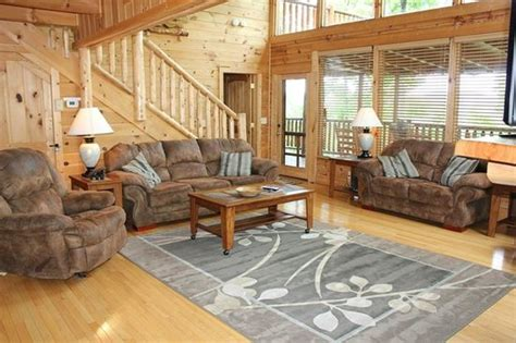 S Cove Log Cabin Rentals by Spacious Cozy Living Room Facing Covered Porch