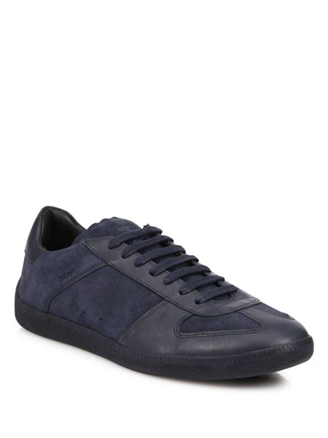 leather suede lace up sneakers coach suede leather lace up sneakers in blue for lyst