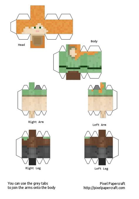 How To Make Papercraft Minecraft - papercraft alex minecraft 1 8 print me