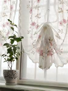 1 pc country voile pull up curtain with rose embroidery ruffle adjustable ebay