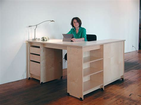 Artist Desk L by Studio Storage Furniture With Locking Drawers And