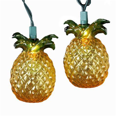 kurt adler 10 light glass look pineapple light set