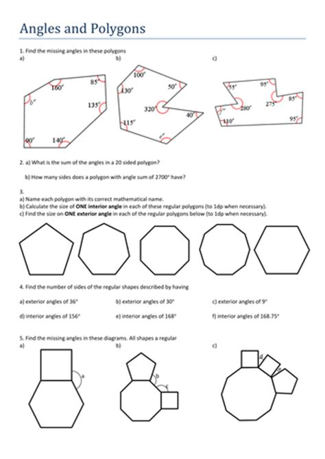 polygons and angles worksheet answers angles and polygons by tristanjones teaching resources tes