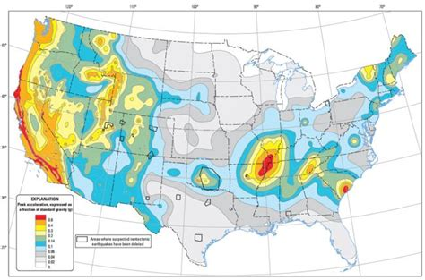 seismic map usa map of earthquake probabilities across the united states