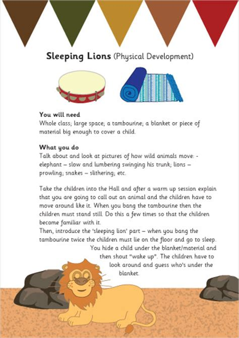 Sleeping Lions Activity Sheet   Free Early Years & Primary