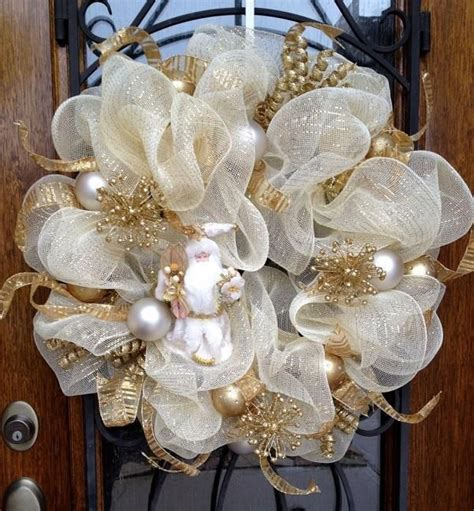 white gold mesh wreath white christmas ornaments front