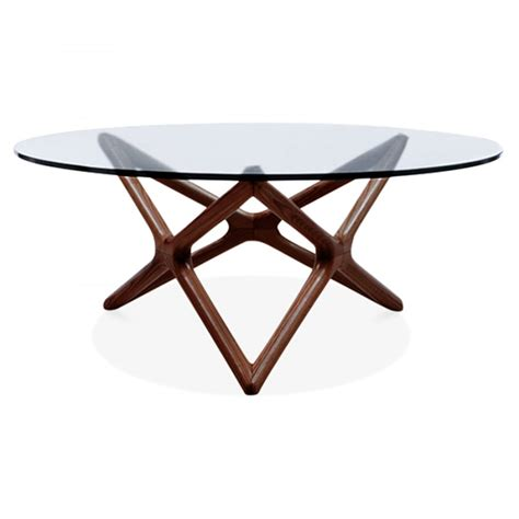 furniture glass top coffee table walnut finish beech wood glass top coffee table