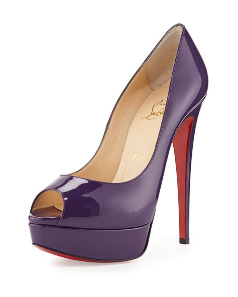 Purple And Lilac Leather Flower Embellished Suede Peep Toes At Debenhams by Christian Louboutin Satin Peep Toe Pumps Louboutin