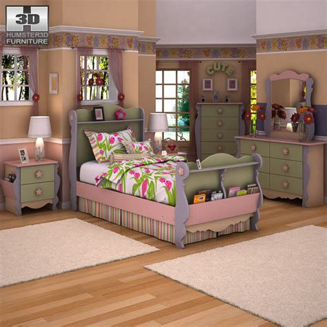 doll house setting ashley doll house sleigh bedroom set 3d model humster3d