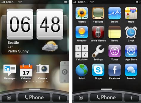ui themes for iphone iphone graced with htc s sense ui theme beauty ensues