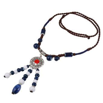 Kalung Ethnic Blue by U7 Ethnic Ceramic Pendant Necklace Antique Silver