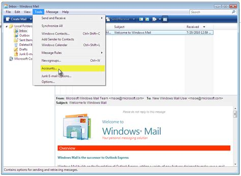 email or e mail manually set up e mail with windows mail using pop3 1 1
