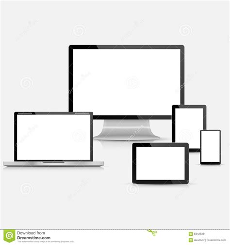 set of realistic vector laptop tablet computer monitor