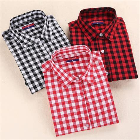 Supplier Hq Tartan Top By Adieva aliexpress buy autumn s plaid blouse cotton sleeve tops plaid