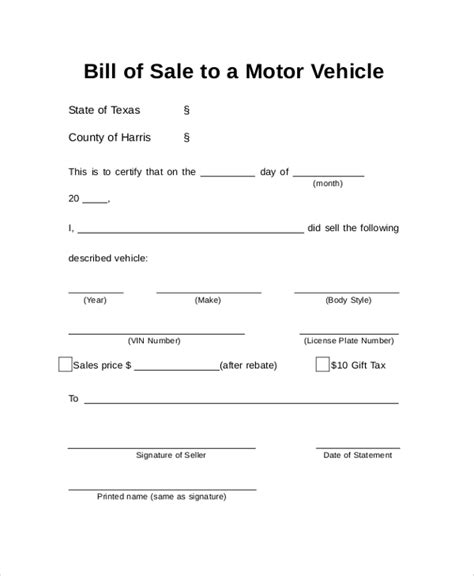 8 Auto Bill Of Sale Sles Sle Templates Bill Of Sale Gift Template