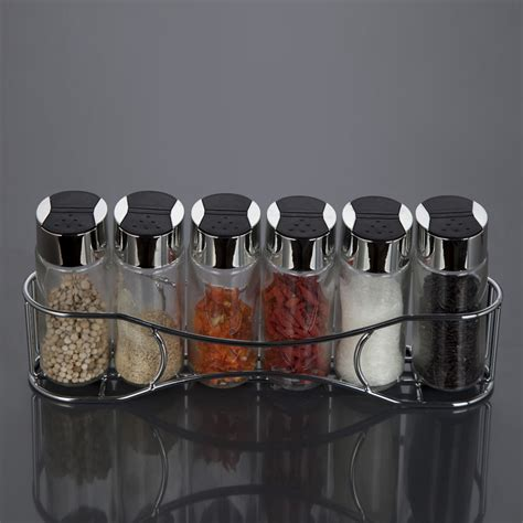 Spice Jar Storage 6pcs Stainless Steel Glass Spice Storage Dispenser