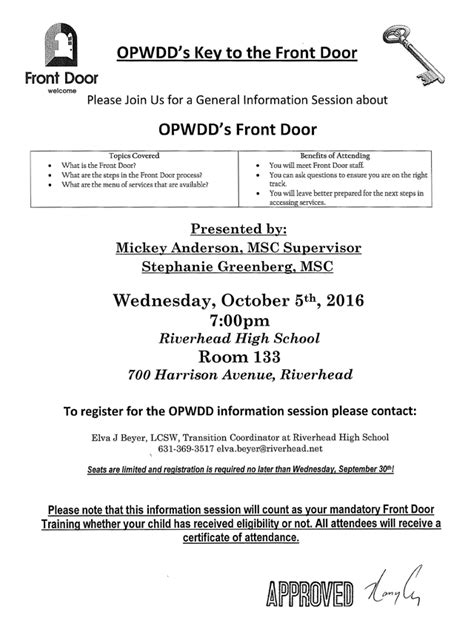 Front Door Opwdd General Information Session About The Office For Persons With Development Disabilities Opwdd