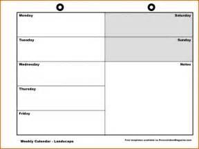 Blank Calendar Template Monday Through Friday by Blank Monday Through Friday Calendar Calendar Printable 2017