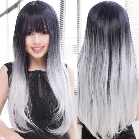 gradient grey hairstyles for 50 lolita gradient black gray wig women long straight hair