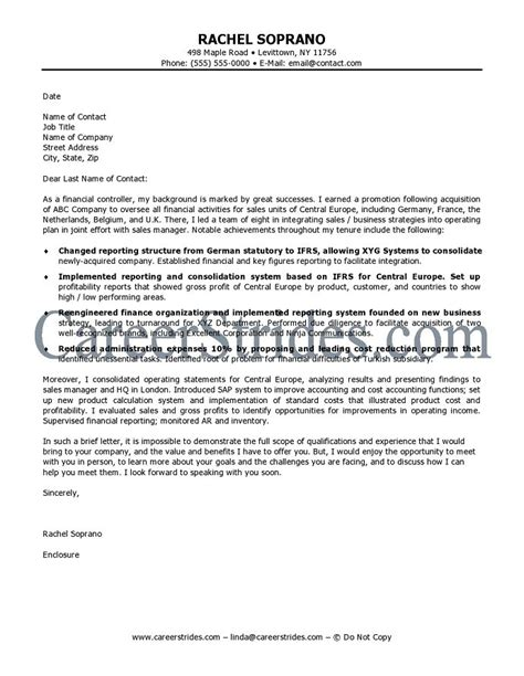 Cover Letter For Finance Finance Cover Letter Sle