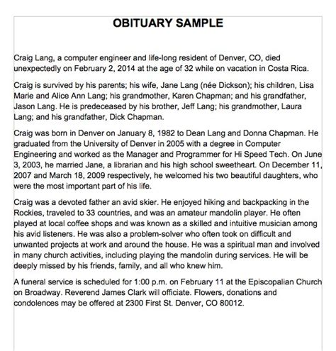 Template For Writing An Obituary by 25 Obituary Templates And Sles Template Lab