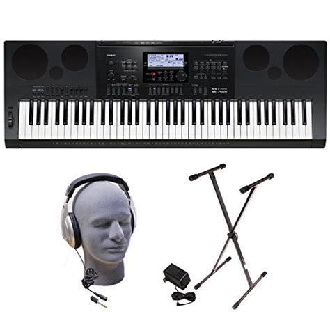 Casio Wk 7600 76 Key Portable Keyboard casio inc wk7600 ppk 76 key premium portable keyboard package with headphones stand and power