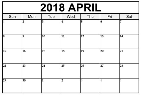 2018 Printable Calendar Word April 2018 Calendar Word Document Printable
