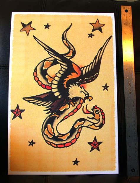 sailor jerry eagle tattoo eagle fighting snake vintage sailor jerry traditional