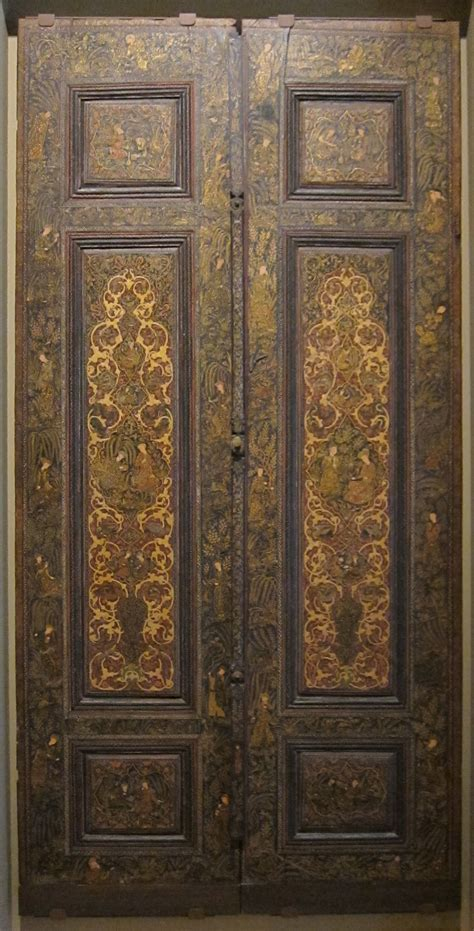 islamic woodwork file pair of doors iran probably isfahan late 19th
