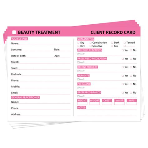 client record card template hairdressing posh panda client record card treatment
