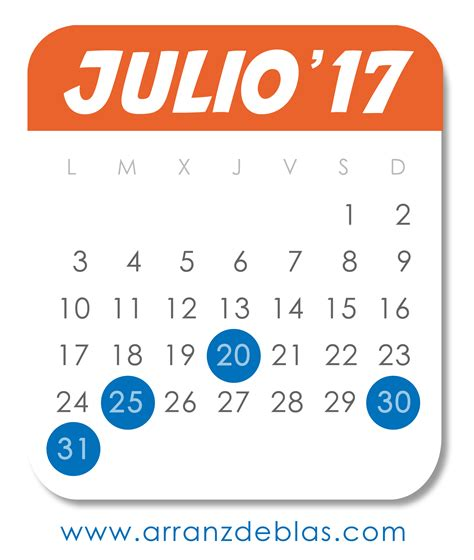 Calendario Julio 2017 Calendario Julio 2017 Fechas Importantes Para Empresas Y