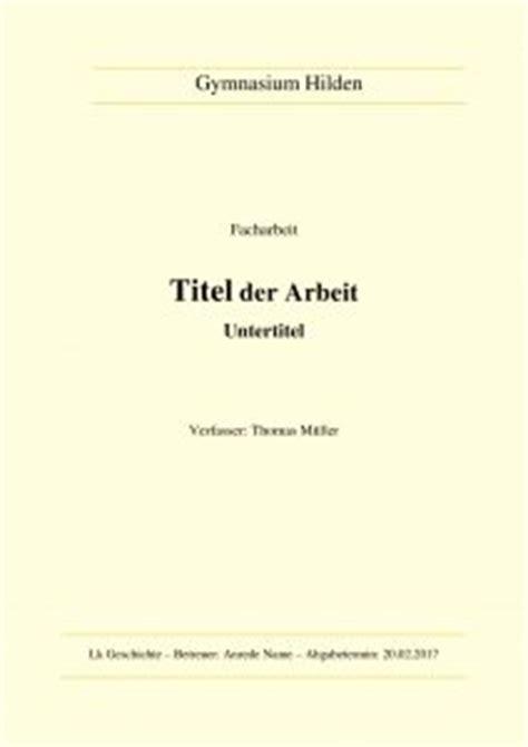 Word Vorlage Facharbeit Facharbeit Deckblatt Mustervorlagen Zum Herunterladen