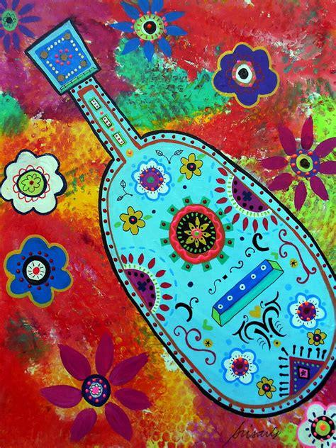 Frida Kahlo Home Decor mexican folk art guitar painting by pristine cartera turkus
