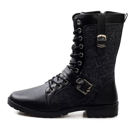 mens motorcycle boots fashion winter black ankle combat boot style fashion