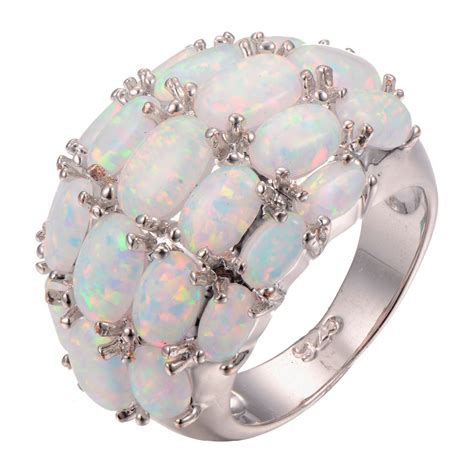 Wholesale Rings by Wholesale White Opal 925 Sterling Silver Ring Fashion