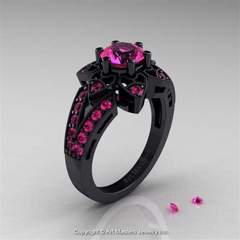 Charm Kc Deco deco 14k black gold 1 0 ct pink sapphire wedding ring engagement ring r286 14kbgps