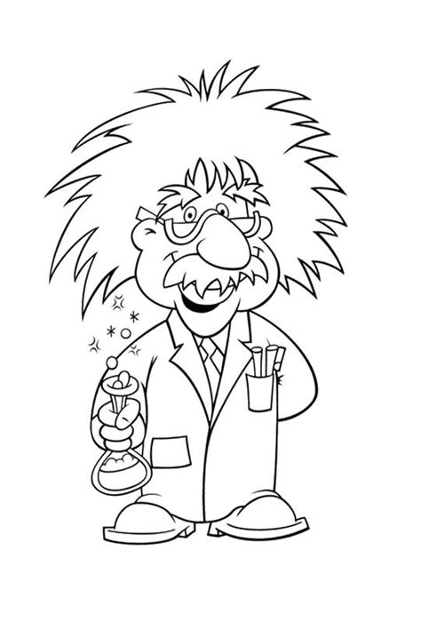 albert einstein cartoon drawing easy sketch coloring page