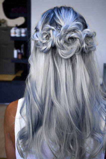 silver blue long hair pictures photos and images for facebook silver blue hair hair makeup pinterest