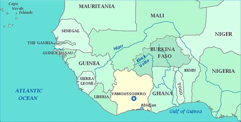 yamoussoukro africa map map of cote d ivoire
