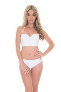 Motel rocks torte lace up bikini top in white posche store