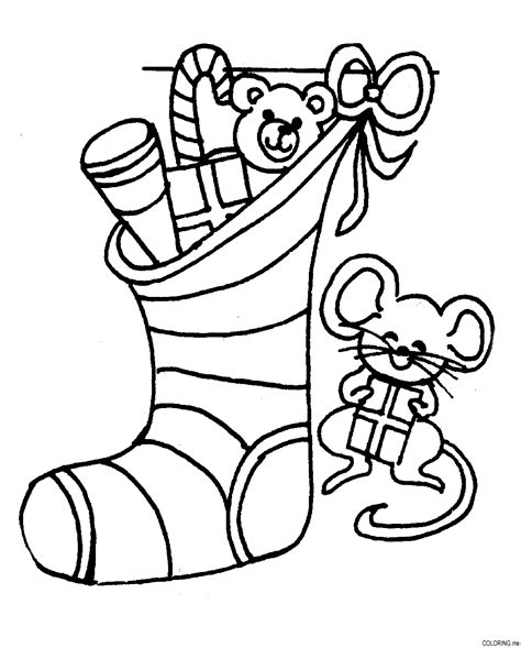 coloring page christmas socks and mouse coloring me