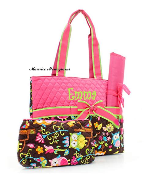 Initial Bag Free 6 Initial personalized owl print bag set monogrammed free